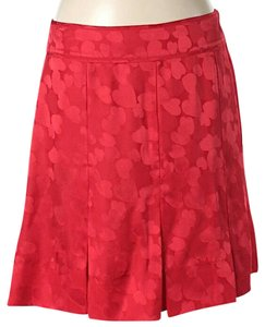 Marc by Marc Jacobs Silk Pleated Print Skirt Red