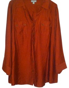 Roz & Ali Color Free Shipping Top TERRACOTA