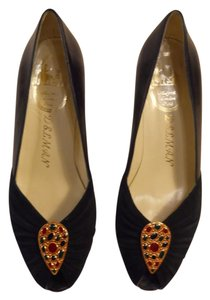 Delman Suede Paris London Jeweled Navy Pumps