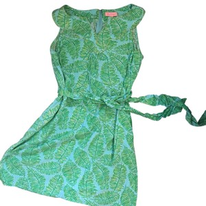 Lilly Pulitzer short dress Light blue with green ferns. on Tradesy