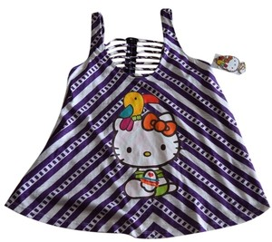 Hello Kitty Bird Tucan Parrot Party Color Rainbow Macy's Zip Zipper Colorful Fun Flirty Top Purple Party