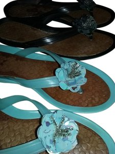 Coach Black and Seafoam Sandals