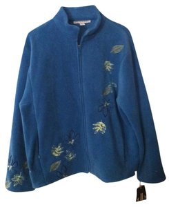 David Brooks Embroidery Fall Leaves Teal Jacket