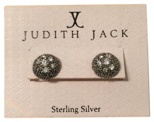 Judith Jack Swarovsky Crystal Sterling Silver Metal Stud Earrings