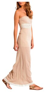 Beige with cream crochet lace trim Maxi Dress by