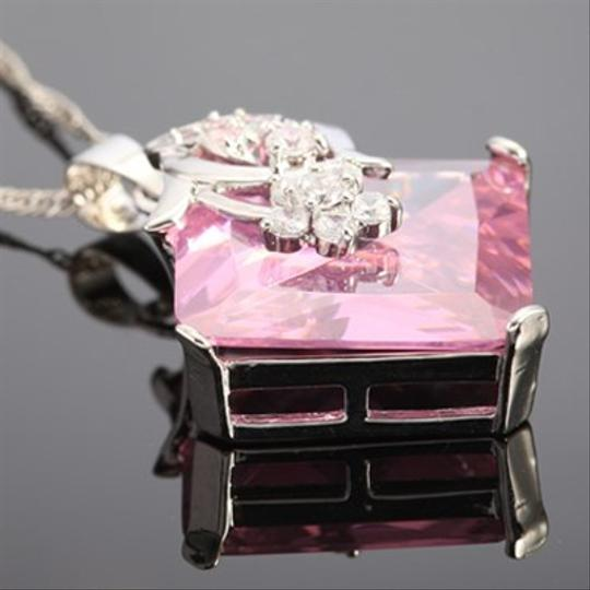 Freestyle Asscher Gemstone Pendant with Chain/Necklace in White Gold Plated