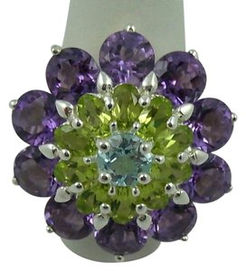 Other 9.05ct Amethyst, Peridot and Blue Topaz Sterling Silver Flower Ring - Size 7