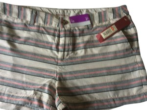 Merona Nwt Striped Size 10 Mini/Short Shorts White, pink,and blue