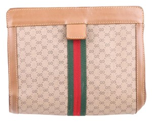 Gucci Accessory Collection Pouch Leather/canvas Brown Clutch