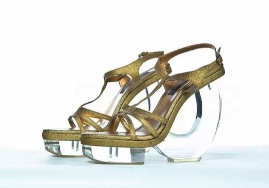 Fernando Pires Designer Celebrity Designer Golden Leather Metallic Sky High Acrylic Heels High End Couture Parladimoda gold Sandals