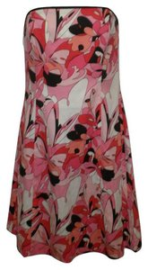 Robin Jordan Strapless Multicolor Pink Red Print Dress