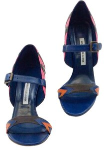 Manolo Blahnik Navy pink brown orange Pumps
