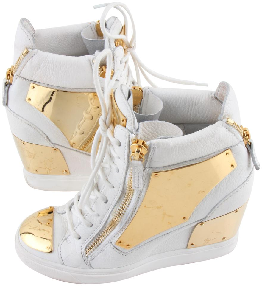 0a2a38463b77f Giuseppe Zanotti Multicolor White Leather Gold Plated Wedge 7.5/38 Sneakers