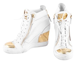 Giuseppe Zanotti High Top Wedge Sneakers White/Gold Athletic