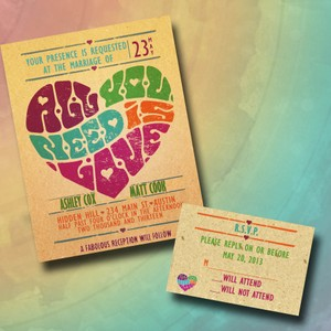 Retro Hearts Poster Pink Blue Green Orange 100custom Style Wedding Invitation Suite with Rsvp