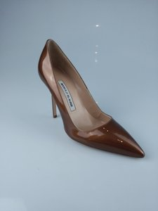 Manolo Blahnik Point Toe Metallic Copper Pumps