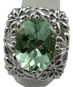 Victoria Wieck Victoria Wieck 6.5ct Prasiolite Floral-Design Sterling Silver Ring - Size 7
