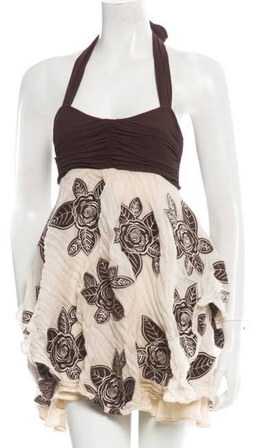 Preload https://item5.tradesy.com/images/alice-olivia-brown-and-cream-floral-applique-halter-mini-short-casual-dress-size-4-s-1640259-0-0.jpg?width=400&height=650