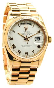 Rolex Rolex 18K Yellow Gold White Roman Dial Day- Date Presidential Men's Watch