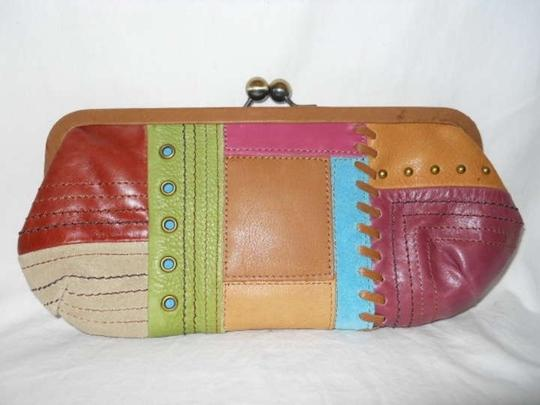 Fossil Leather Patchwork tan multi Clutch