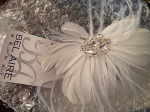 Bel Aire Bridal Crystal/feather Hair Piece