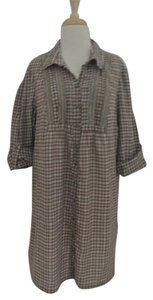 Joie short dress brown Plaid Shirt 3/4 Sleeve Cotton on Tradesy