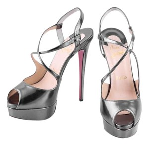 Christian Louboutin metallic gray Platforms