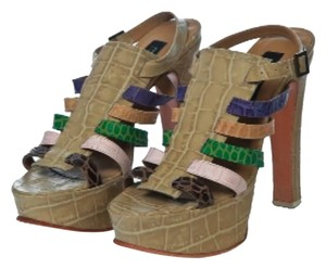 Fernando Pires Colecao Verao 2009 Summer 2009 Croco Leather Heels High Heels 8.5 Beige Pink Green Stripped Heels Couture multi colors Sandals