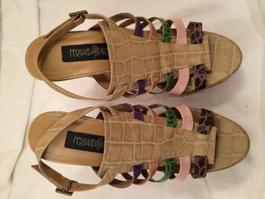 Fernando Pires Colecao Verao 2009 Summer 2009 Croco Leather Heels High Heels 8.5 Beige Pink Green Purple Stripped Heels Nos multi colors Sandals