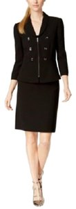 Tahari Tahari ASL Peplum Military zip-front jacket Black Skirt Suit Size 18
