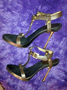 Gucci Stiletto High Heels Platform Tom Ford CHOCOLATE BROWN WITH GUCCI GOLD ALLOY Formal