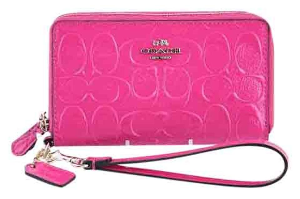 f82b4b56d05c Coach * Double Zip Phone Wallet Signature Embossed Leather Pink ...