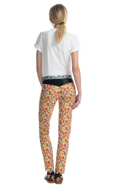 Yigal Azrouel Pant Floral Printed Leather Trim Skinny Jeans