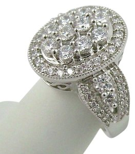 Diamonique Epiphany Platinum Clad Diamonique Pave' Oval Ring - Size 5