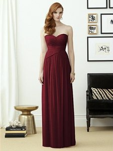 Dessy Burgundy Gold Chiffon with Shimmer 2960 Formal Bridesmaid/Mob Dress Size 10 (M)