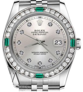 Rolex Ladies Rolex 26mm Datejust Silver Color Dial with Emerald Diamond Accent Watch