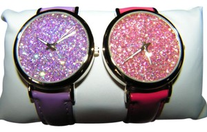 Other 2pc Pink & Purple Rhinestone Quartz Watch Set Free Shipping
