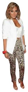 Victoria's Secret Trouser Pants Black Tan Brown Leopard Cheetah