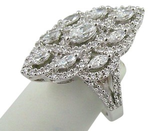 Diamonique Epiphany Platinum Clad Diamonique Marquise Multi-Stone Ring - Size 7