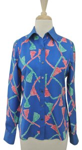 Lilly Pulitzer Tassel Print Silk Shirt Long Sleeve Button Down Shirt blue