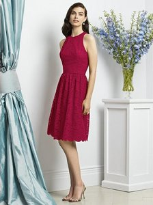 Dessy Spanish Red Lace 2939 Feminine Bridesmaid/Mob Dress Size 10 (M)