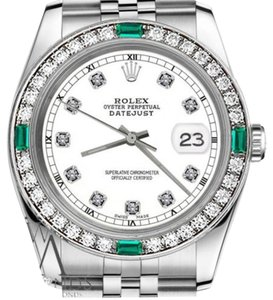Rolex Rolex 36mm Datejust White Color Dialwith Emerald Diamond Accent RT Watch