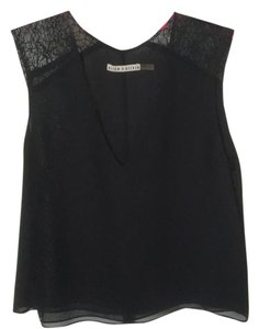 Alice + Olivia Silk Shell Lace Trim Top Black