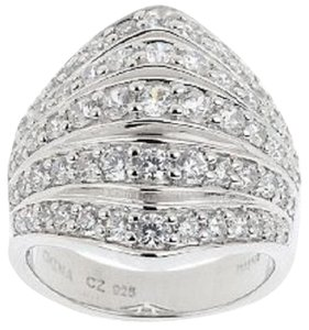 Diamonique Diamonique Sterling Silver 5-Row Tapered Wide Band Ring - Size 5