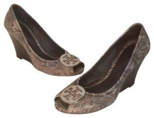 Tory Burch Gray black silver Wedges