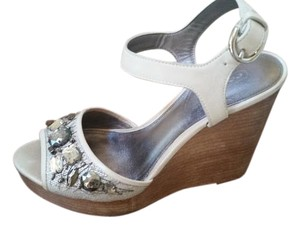Coach Embellished Leather Wedge Bone cream silver Wedges