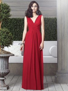 Dessy Flame Red Chiffon 2907 Feminine Bridesmaid/Mob Dress Size 10 (M)