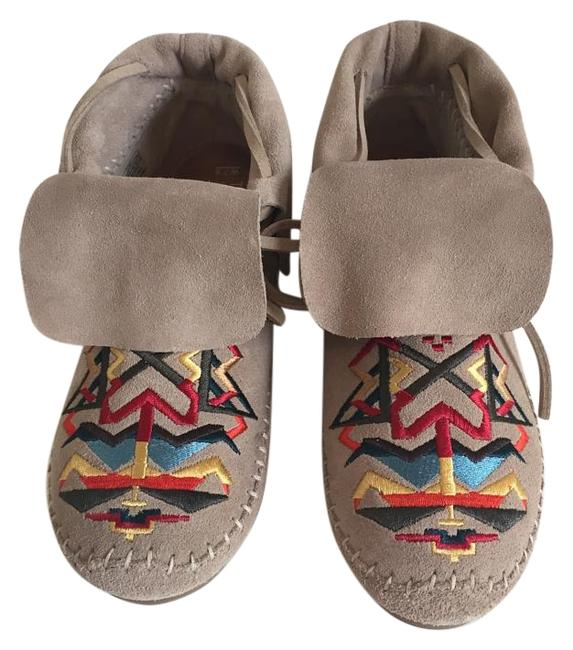 Item - Tan/Multi Colored Suede Tribal Embroidered Boots/Booties Size US 7.5 Regular (M, B)