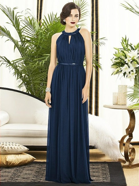 Item - Midnight Navy Chiffon 2887 Modern Bridesmaid/Mob Dress Size 12 (L)
