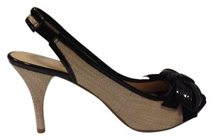 Nine West New Black Bow Patent Leather Beige Beige Black Pumps
